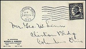 Cachet - George W. Linn's cachet on Harding Memorial issue