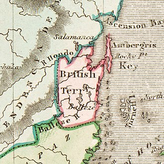 Detail of Belize from Daniel Lizars' 1831 map Lizars Mexico & Guatimala 1831 UTA (detail of British Territory--Balleze).jpg