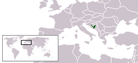 A map showing the location of Bosnia and Herzegovina
