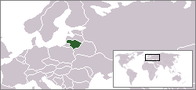 A map showing the location of Lithuania
