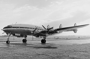 Lockheed C-69 Constellation - The sole C-69C after civilianization for BOAC as an L049E. At London Heathrow in 1954