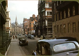 Grosvenor Chapel - Grosvenor Chapel viewed from Aldford St, circa 1949