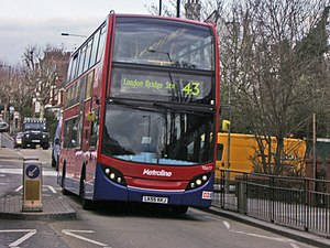 London Buses route 43 - Metroline Alexander Dennis Enviro 400 in Muswell Hill in March 2008