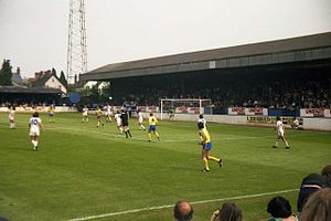 Thames Valley Royals proposal - Oxford United (yellow and blue) playing a home match at the Manor Ground in 1980