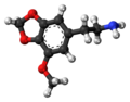 Lophophine molecule ball.png