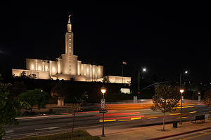 Los Angeles California Temple - The Los Angeles Temple at night