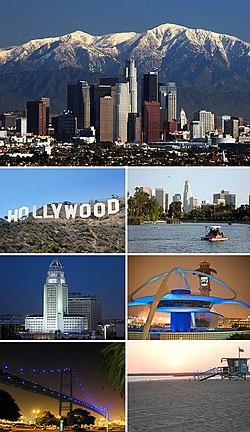 从上顺时钟依序:洛杉矶市中心天际线 · 回音公园(英语:Echo Park, Los Angeles) · 洛杉矶国际机场主题馆(英语:Theme Building) · 威尼斯海滩 · 文森汤玛斯大桥(英语:Vincent Thomas Bridge) · 洛杉矶市政厅 · 好莱坞标志