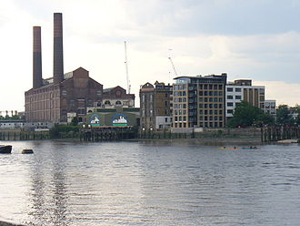 Counter's Creek - Lots Road Power Station where Counter's Creek joins the Thames as Chelsea Creek