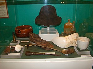 Lucerne (shipwreck) - Items recovered from the Lucerne shipwreck site, on display at the Madeline Island Historical Museum.