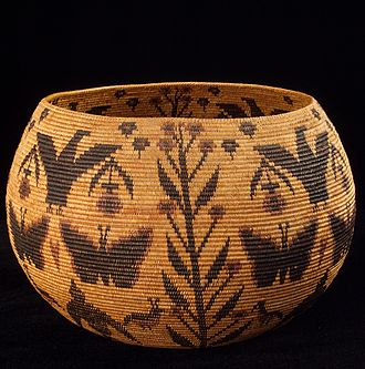 Plains and Sierra Miwok - A basket woven by Miwok-Mono Paiute Native American artist Lucy Telles from the Yosemite Valley region
