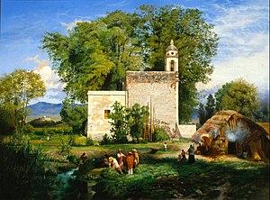 Colonia Roma - Paisaje de San Cristóbal Romita, Luis Coto, 1857. In the distance on the left can be seen the Castillo de Chapultepec.