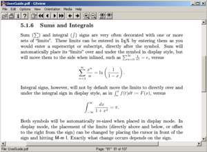 LyX - Screenshot of PDF document created with LyX