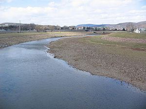 Lycoming Creek - Lycoming Creek in Williamsport, PA near its mouth. Note flood control levees on either side.