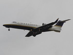 English: Learjet 45 registered M-GLRS landing ...