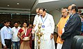 M. Venkaiah Naidu lighting the lamp to inaugurate the Reverse Buyer-Seller Meet organised as part of the India International Coir Trade fair 2016 and Agri Intex 2016, at CODISSIA Trade Fair Complex, in Coimbatore, Tamil Nadu.jpg