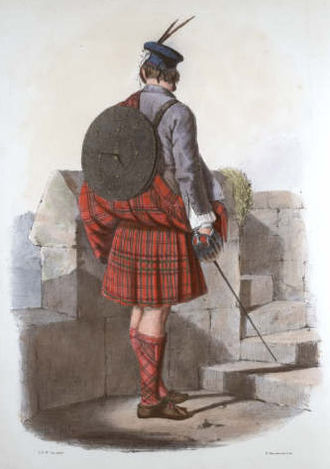 Clan MacGillivray - A romanticised Victorian-era illustration of a MacGillivray clansman by R. R. McIan from The Clans of the Scottish Highlands published in 1845.