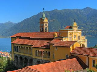 Madonna del Sasso, Switzerland sanctuary in Orselina, above the city of Locarno, in Ticino, Switzerland