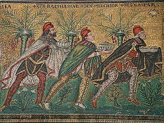 Byzantine art usually shows the Magi in Persian dress (breeches, capes, and Phrygian caps). Mosaic, Ca. 600 Basilica of Sant'Apollinare Nuovo, Ravenna, Italy- restored.