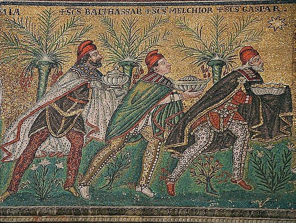 The Three Magi, Byzantine mosaic c. 565, Basilica of Sant'Apollinare Nuovo, Ravenna, Italy (restored during the 18th century). As here Byzantine art usually depicts the Magi in Persian clothing which includes breeches, capes, and Phrygian caps. Magi (1).jpg