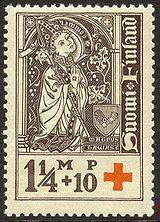 Maunu II Tavast vuonna 1933 julkaistussa postimerkissä.