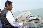Maharashtra CM Devendra Fadnavis witnessing the Air Power Demonstration onboard INS Vikramaditya.jpg