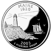 Maine quarter, reverse side, 2003