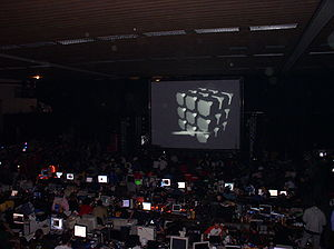 Breakpoint (demoparty) - View from the grand stand at Breakpoint 2005 while a competition was running.