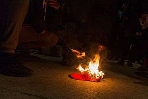 DisruptJ20 - Burning of Make America Great Again campaign hat after sunset January 19, outside the NPB. Photograph by Lorie Shaull.