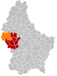 Map of Luxembourg with Rambrouch highlighted in orange, the district in dark grey, and the canton in dark red