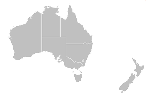 ANZ Championship - Image: Map of Australia and New Zealand