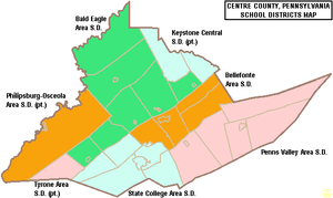 Tyrone Area School District - Map of Centre County, Pennsylvania School Districts showing a part of Tyrone Area School District