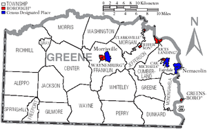 Greene County, Pennsylvania - Map of Greene County, Pennsylvania with Municipal Labels showing Boroughs (red), Townships (white), and Census-designated places (blue).