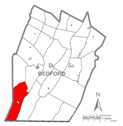 Map of Bedford County, Pennsylvania highlighting Londonderry Township