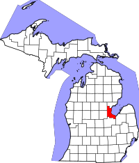 Map of Michigan highlighting Bay County