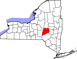 map of New York highlighting Otsego County