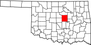 Map of Oklahoma highlighting Lincoln County.svg