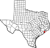 State map highlighting Galveston County
