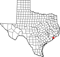 Map of Teksas highlighting Galveston County