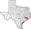 State map highlighting Harris County