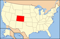 Map of the U.S. highlighting Колорадо