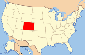 Map of the United States with کلرادو highlighted