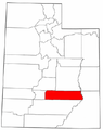 Map of Utah highlighting Wayne County.png