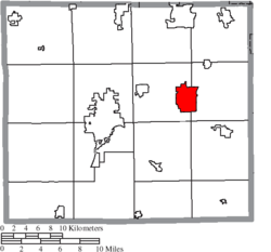 Location of Orrville in Wayne County