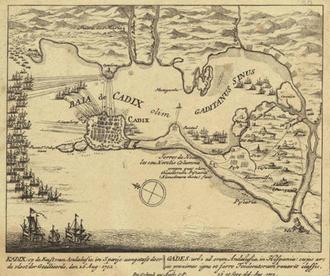 Battle of Cádiz (1702) - Image: Map of the Battle of Cadiz 1702