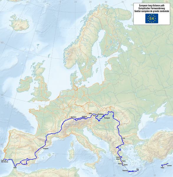 Tiedosto:Map of the European Long Distance Path E4.png