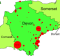 Map of towns and cities in Devon by population.png