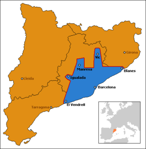 Barcelona metropolitan area - Image: Mapa Situación En