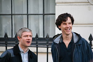 Sherlock (TV series) - Martin Freeman and Benedict Cumberbatch filming the third series of Sherlock, August 2013