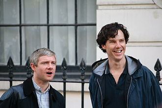 """His Last Vow - Martin Freeman (left) and Benedict Cumberbatch during filming of """"His Last Vow"""" in August 2013."""