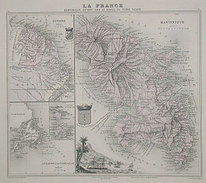 History of Martinique - 1865 map featuring Martinique.